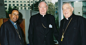 Three members of the College of Cardinals spoke at the Paris conference. Left to right: Telesphore Cardinal Toppo; Edward Cardinal Egan; and Zenon Cardinal Grocholewsky. Photos by Marcel Salvaro