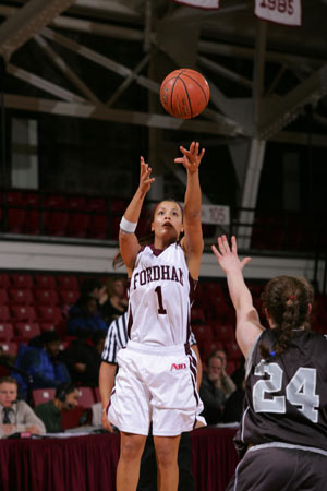 Former Fordham basketball player Lisa Carrol will play professionally in Italy.  Photo by Vincent Dusovic