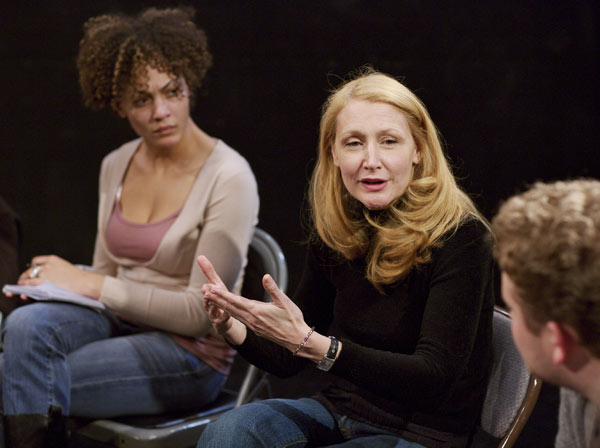 Actress and alumna Patricia Clarkson speaks with Fordham drama students in the Black Box Theatre at the Lincoln Center campus.