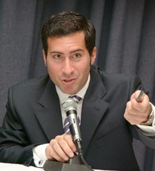 Moderator Costas Panagopoulos, Ph.D., director of the Elections and Campaign Management program at Fordham. Photo by Chris Taggart