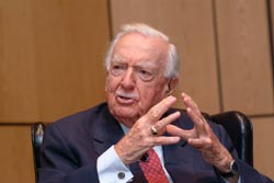 Former CBS Evening News anchor Walter Cronkite addressed a standing-room-only audience in October as part of an event hosted by the Fordham Graduate School of Business Administration's Center for Communications.