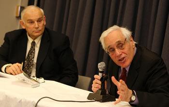 Everette Dennis, Ph.D., Distinguished Felix E. Larkin Professor, Graduate School of Business (left), with author Edward Jay Epstein, Ph.D. Photo by Michael Dames