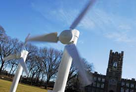 A student-built wind farm is displayed on Edwards Parade during Earth Week at Fordham. Photo by Chris Taggart