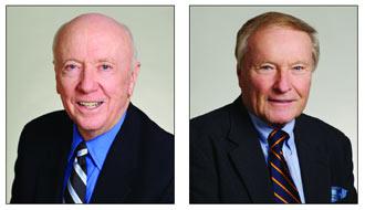 Robert E. Campbell, CBA '55, (left) and Herbert A. Granath, FCRH '54, GSAS '55 Photos by Jon Roemer