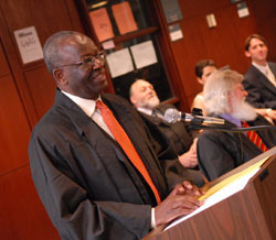 Ibrahim Gambari, Ph.D., the United Nations undersecretary general for political affairs, addresses graduates of the International Diploma in Humanitarian Affairs program. Photo by Chris Taggart