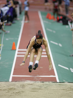 Senior Kerstin Greene leapt over all the competitors at the Fordham Invitational Photo by Vincent Dusovic