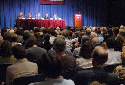 Experts in international affairs discussed the morality of withdrawing American troops from Iraq in front of a packed audience at Pope Auditorium on the Lincoln Center campus.  Photo by Leo Sorel