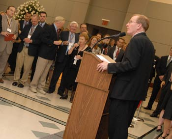 Joseph M. McShane, S.J., president of Fordham, thanks alumni for their support during Jubilee Reunion festivities. Photo by Chris Taggart