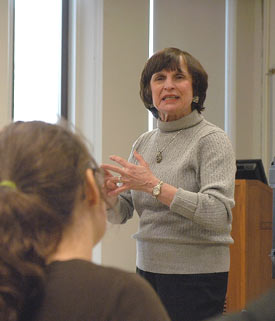 Noise expert Arline Bronzaft speaks to Fordham urban psychology students about the status of noise control in New York City. Photo by Ken Levinson