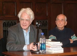 James Marsh, Ph.D., professor emeritus of philosophy, and Daniel Berrigan, S.J., said that it is a university's obligation during a time of war to discuss the issue with students. Photo by Chris Taggart