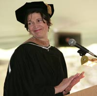Carolyn N. Dolan (MC'68) delivered the keynote address  to Marymount's final graduating class. Photo by Peter Freed