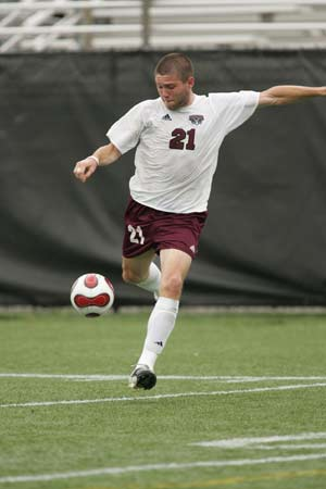Senior Kevin Meyer is in exclusive company as  one of only 20 men's soccer players to be  candidates for the CLASS Award. Photo by Vincent Dusovic