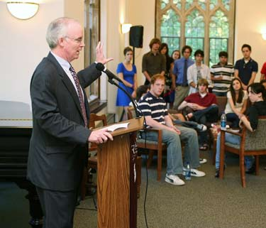 Brennan O'Donnell, Ph.D., dean of Fordham College at Rose Hill, welcomes some of the most accomplished students in the Class of 2011 at a reception in Duane Library. Photo by Michael Dames