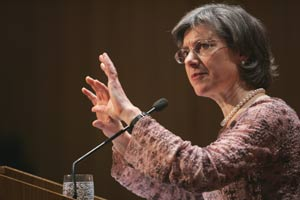 Susan Ashbrook Harvey, Ph.D., professor of religious studies at Brown University, delivers the 2008 Orthodoxy in America Lecture.  Photo by Bruce Gilbert