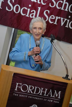 Mary Anne Quaranta, D.S.W., former dean of GSS, was honored at the school's 90th anniversary celebration. Photo by Chris Taggart