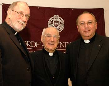 Archbishop Joseph Pittau, S.J., Sophia University, Toyko, Japan, delivered the third Jesuit Jubilee Lecture to a full house in October in the McGinley Center Ballroom, on the Rose Hill campus. The lecture, on Francis Xavier, was sponsored by the Rector of the Jesuit Community at Fordham University and the Vice President for University Mission and Ministry. (Left to right) Patrick J. Ryan, S.J., vice president for University Mission and Ministry; Archbishop Joseph Pittau, S.J.; and Vincent J. Duminuco, S.J., rector of the Fordham Jesuit community.  Photo by Ken Levinson
