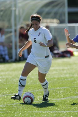 Junior forward Katie Sanchez has been selected Atlantic 10 Women's Soccer Co-Player of the Week. Photo by Vincent Dusovic