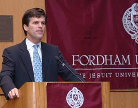 """Special Olympics President Timothy Shriver gave the keynote address at """"Autism and Advocacy: A Conference of Witness and Hope,"""" on October 27 at Fordham's Lincoln Center campus. The conference was sponsored by the University's Francis and Ann Curran Center for American Catholic Studies and drew dozens of educators, activists and parents of autistic children."""