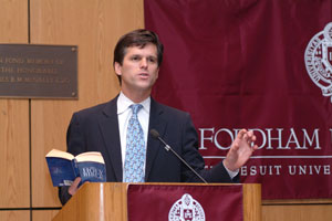 Special Olympics president Timothy Shriver opened the conference by relating his own experiences with the mentally retarded and their struggle for dignity and recognition.