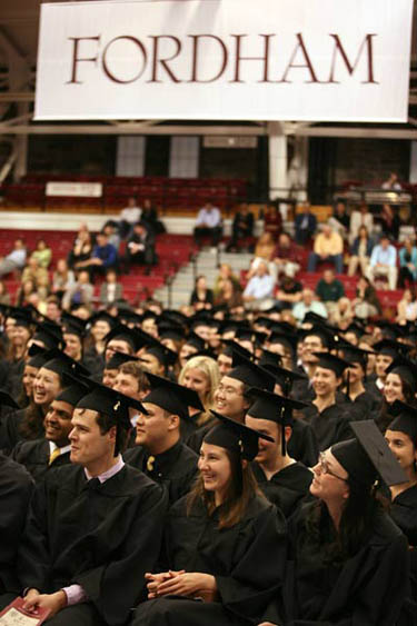 Some of Fordham College at Rose Hill's most accomplished graduating seniors were feted at Encaenia held in the Rose Hill Gymnasium. Photo by Michael Dames