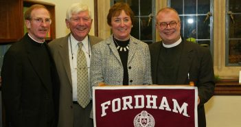 From left to right, Father Joseph McShane, John and Constance Curran, and Father Mark Massa at the launch of the Curran Center for American Catholic Studies.