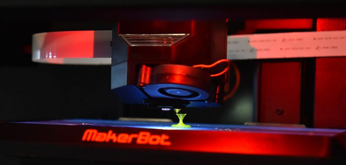 A 3-D printer at work at Faculty Technology Day. Photo by Dana Maxson