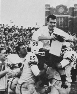 November 7, 1964: David Langdon is carried off Coffey Field in triumph after coaching Fordham's newly formed club football team to victory against NYU.