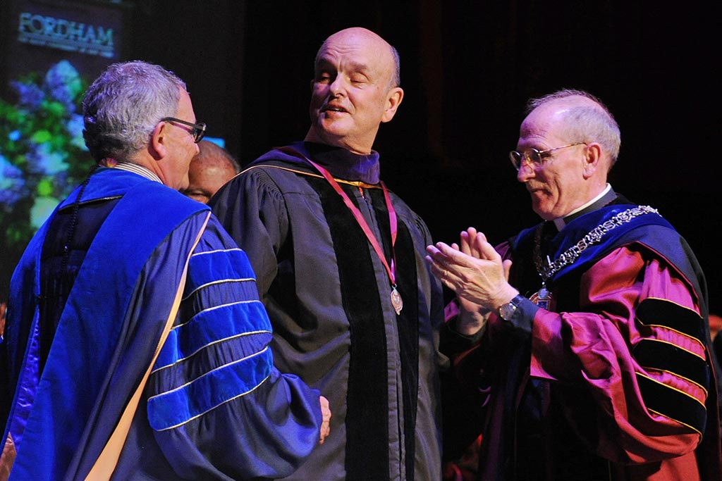 From left: Stephen Freedman, PhD, provost of the University; Michael M. Martin, dean of Fordham Law School and Distinguished Professor of Law; and Joseph M. McShane, S.J., president of Fordham.
