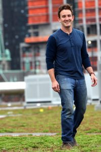 PhD candidate Dustin Partridge researches insects on green roofs.