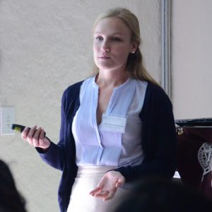 Senior Elizabeth Eisenhardt explained her chipmunk study.