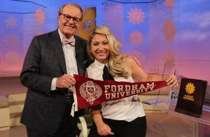 Sara Kugel, FCRH '11, on the set of CBS Sunday Morning with host and fellow alumnus Charles Osgood, FCRH '54. Photo courtesy of CBS
