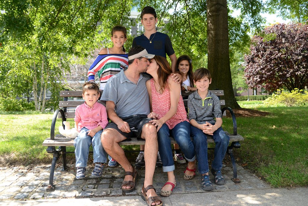 The Bournos brood visit the bench where mom and dad shared their first kiss.