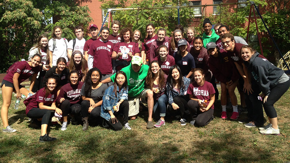 Fordham students volunteer with Habitat for Humanity on Sept. 26 to refurbish the Pope Francis House in Yonkers. Photo courtesy of Carol Gibney