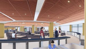 A rendering of the new student center.