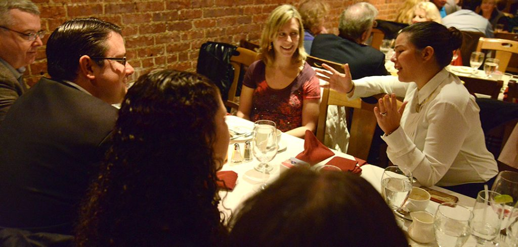 Vanessa Nadal, at right, joined fellow alumni for dinner and conversation.