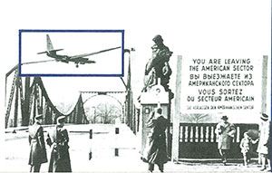 The Glienicke Bridge with an inset image of a U-2 reconnaissance plane
