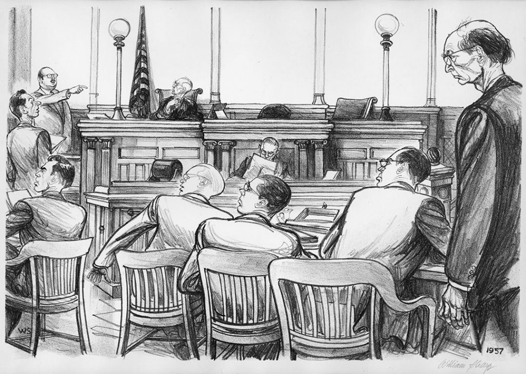 """The Abel Spy Trial,"" copy of an original lithograph by William Sharp. Courtesy of Dan McDermott and Ed Radzik at Marshall Dennehey Warner Coleman & Goggin"