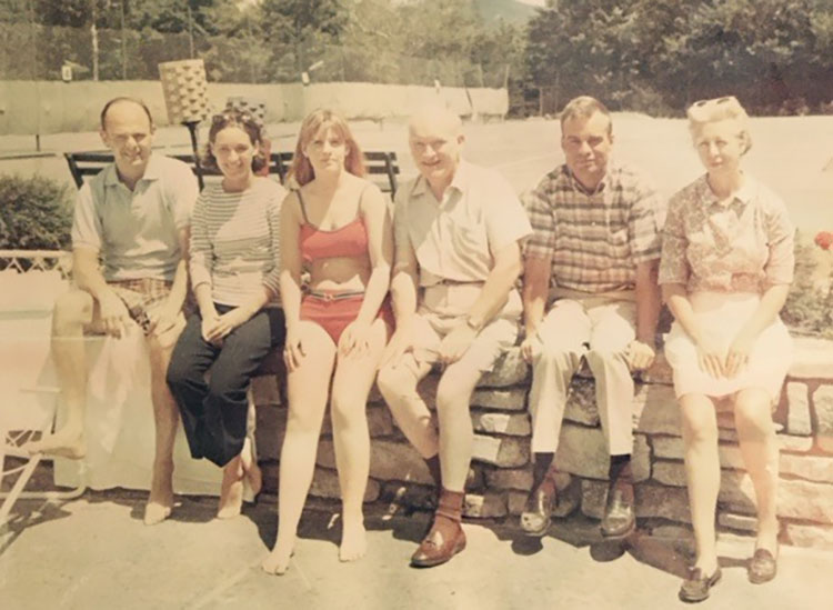 The Donovan family at Lake Placid, New York, circa 1967. From left: Dr. Edward Amorosi and his wife, Jan; Mary Ellen; James Donovan; John; and James' wife, Mary. Courtesy of John Donovan