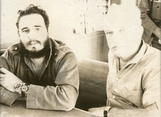 Donovan (right) and Fidel Castro in Cuba, 1963. Courtesy of John Donovan