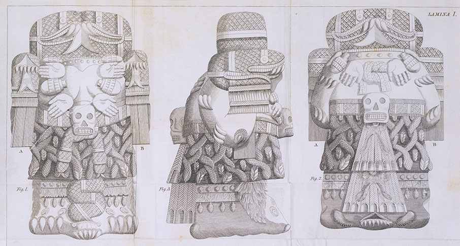 A depiction of a stone sculpture of the Aztec god Coatlicue, which was discovered in Mexico City's main plaza in 1792. Photo courtesy of Vistas: Visual Culture in Spanish America