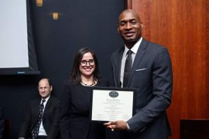Jacqueline Reich, Chair of the department of communication and media studies, presents the Sperber Award to Charles M. Blow. Photo by Bruce Gilbert