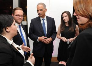Holder spoke afterward with Stein scholars. Photo by Chris Taggart