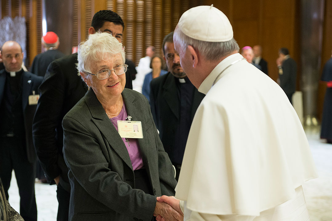 Sister Maureen Kelleher with Pope Francis at the synod 2015