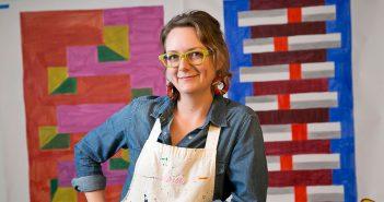Artist Martha Clippinger in her studio