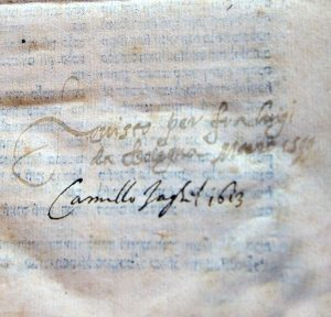 Signatures by two Catholic censors, one by Luigi da Bologna from 1599, and the other from 1613 by Camillo Jaghil.