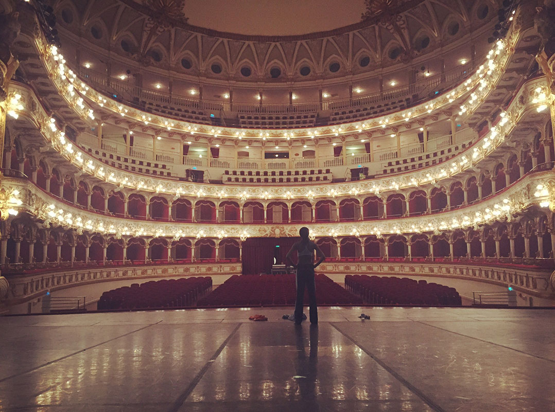 Spears took a moment in the Teatro Petruuzelli in Bari, Italy, just before her first Ailey II performance abroad. Photo Courtesy of Courtney Spears