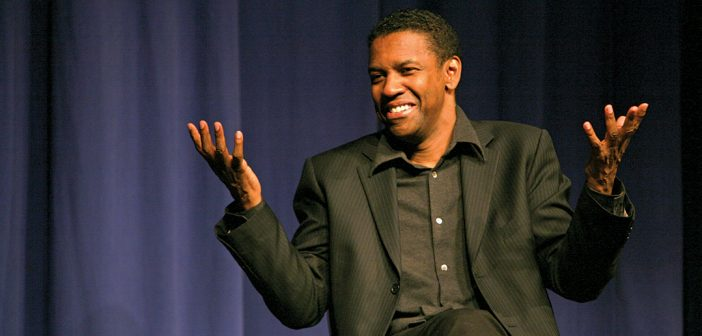 Denzel Washington speaks to Fordham Theatre students during an October 2012 visit to the Lincoln Center campus.