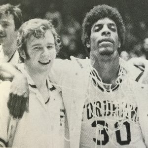 Darryl Brown, right, after a win in the 1974-75 season.