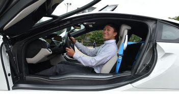 A student in the BMW workshop test drives a new car