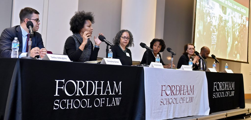 Adegbile with panelists Christina Greer, Tanya Hernandez, Kimani Paul-Emile, Clara E. Rodriguez, and Olivier Sylvain